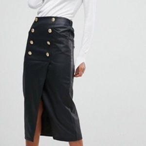 ASOS leather look pencil Midaxi skirt